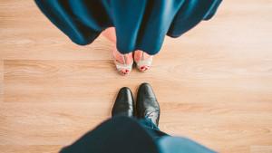 suit couple blue shoes