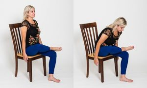picture of how to perform a seated pigeon hip opener pose in chair yoga