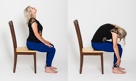 how to perform the seated cat and cow chair yoga poses