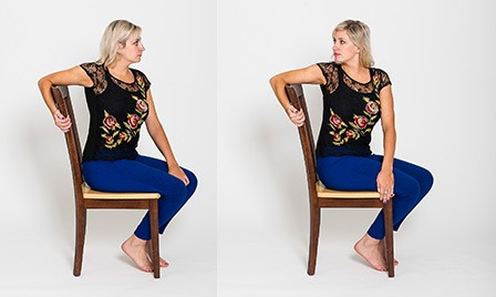 picture of how to perform a seated twist in chair yoga